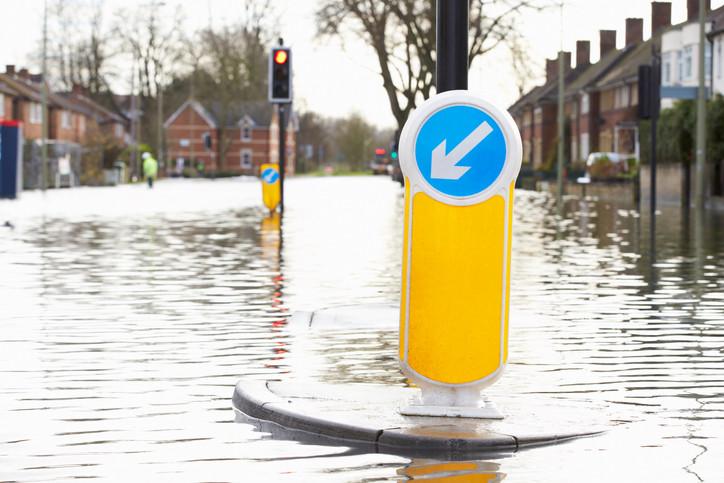 flooded traffic island